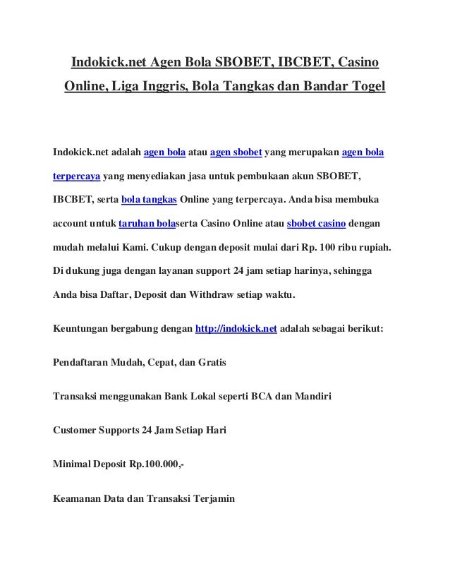Indokick.net agen bola sbobet ibcbet casino online liga ...