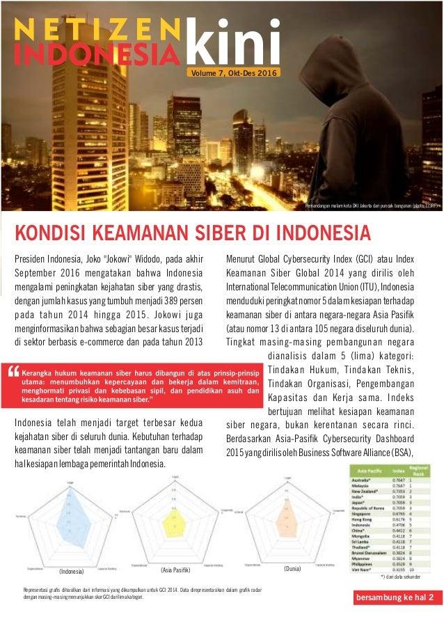"""KONDISI KEAMANAN SIBER DI INDONESIA Presiden Indonesia, Joko """"Jokowi"""" Widodo, pada akhir September 2016 mengatakan bahwa I..."""