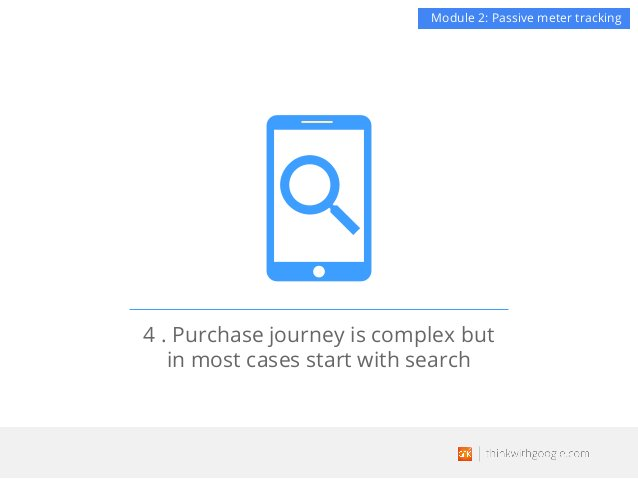 4 . Purchase journey is complex but in most cases start with search Module 2: Passive meter tracking