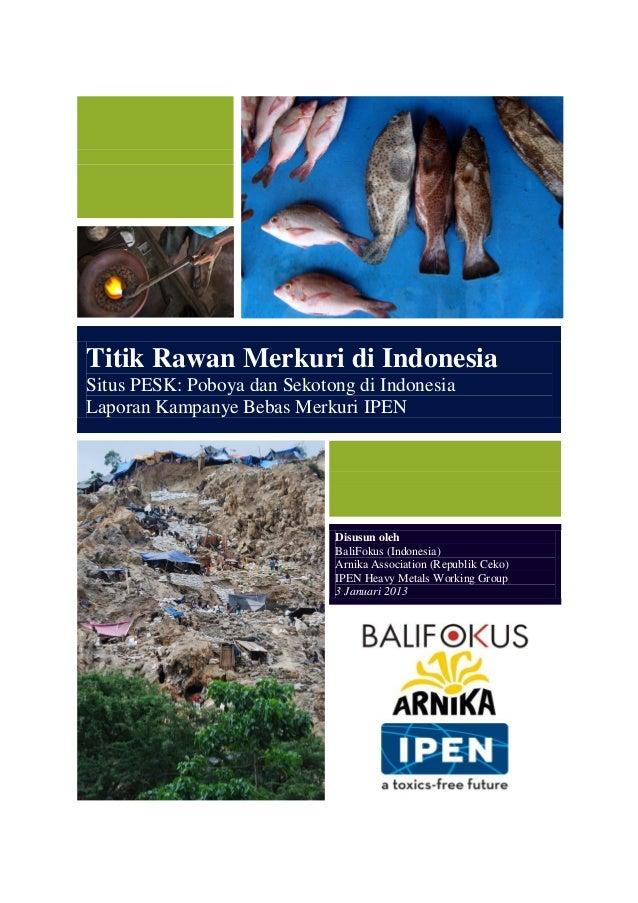 Titik Rawan Merkuri di Indonesia Situs PESK: Poboya dan Sekotong di Indonesia Laporan Kampanye Bebas Merkuri IPEN Disusun ...