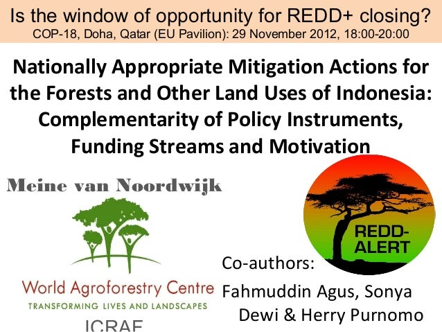 Is the window of opportunity for REDD+ closing?  COP-18, Doha, Qatar (EU Pavilion): 29 November 2012, 18:00-20:00Nationall...