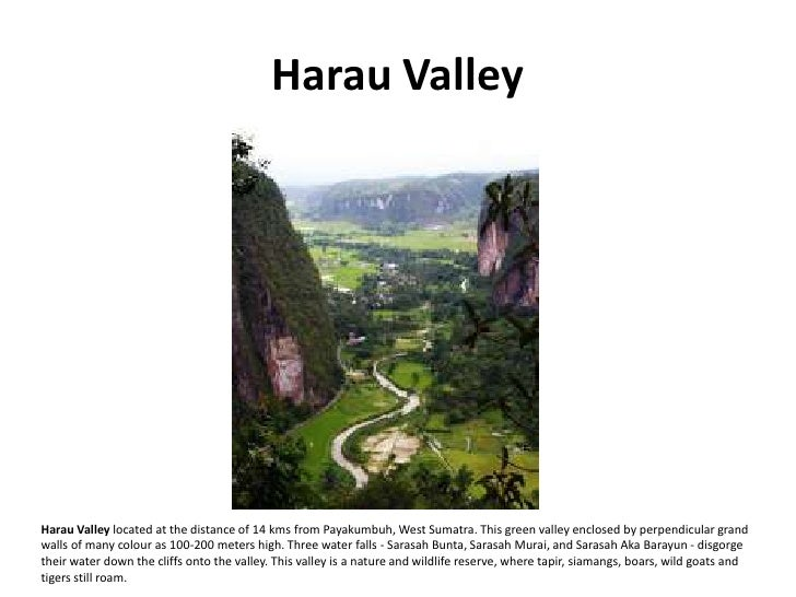 Harau Valley     Harau Valley located at the distance of 14 kms from Payakumbuh, West Sumatra. This green valley enclosed ...