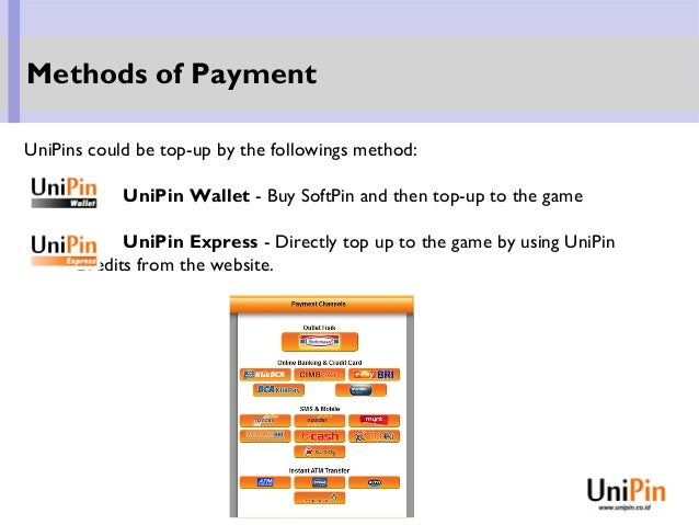 UniPins could be top-up by the followings method: UniPin Wallet - Buy SoftPin and then top-up to the game UniPin Express -...