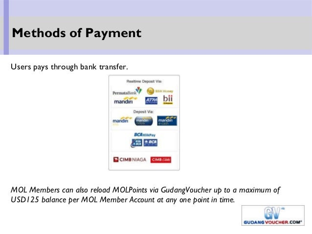 Users pays through bank transfer. MOL Members can also reload MOLPoints via GudangVoucher up to a maximum of USD125 balanc...