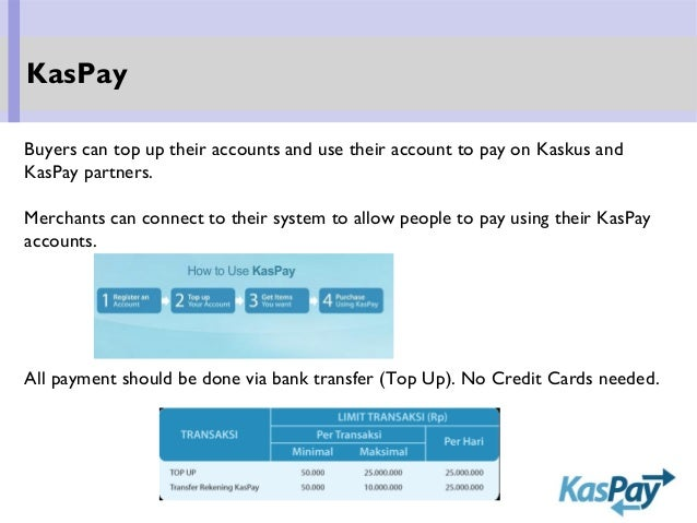 Buyers can top up their accounts and use their account to pay on Kaskus and KasPay partners. Merchants can connect to thei...