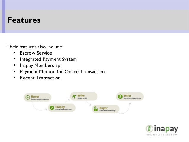 Their features also include: • Escrow Service • Integrated Payment System • Inapay Membership • Payment Method for Online ...