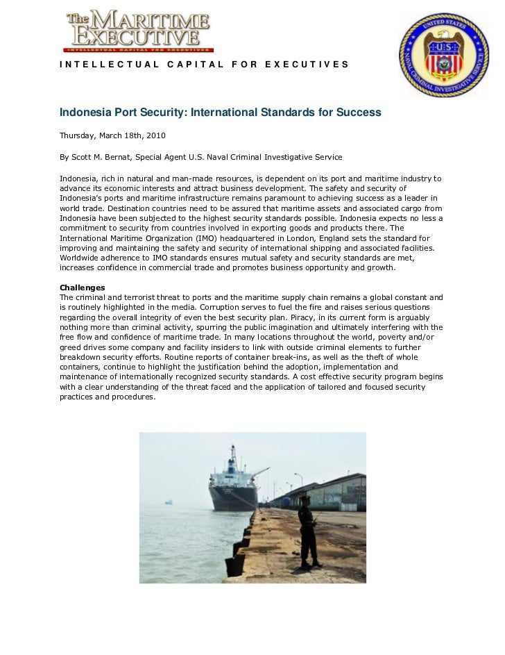 INTELLECTUAL CAPITAL FOR EXECUTIVESIndonesia Port Security: International Standards for SuccessThursday, March 18th, 2010B...