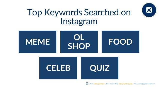 Top Keywords Searched on Instagram MEME OL SHOP FOOD CELEB QUIZ Web : http://jakpat.net – App ( Android/IOS) : http://jakp...
