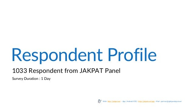 Respondent Profile 1033 Respondent from JAKPAT Panel Survey Duration : 1 Day Web : http://jakpat.net – App ( Android/IOS) ...
