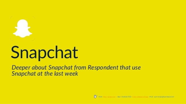 Snapchat Deeper about Snapchat from Respondent that use Snapchat at the last week Web : http://jakpat.net – App ( Android/...