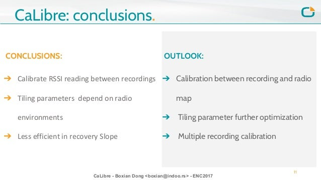 CaLibre - Boxian Dong <boxian@indoo.rs> - ENC2017 CONCLUSIONS: ➔ Calibrate RSSI reading between recordings ➔ Tiling parame...
