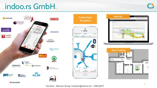 CaLibre - Boxian Dong <boxian@indoo.rs> - ENC2017 indoo.rs GmbH. 2 Positioning & Navigation Asset Tracking Analytics