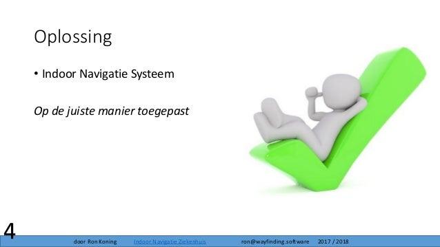 Oplossing • Indoor Navigatie Systeem Op de juiste manier toegepast 4 door Ron Koning Indoor Navigatie Ziekenhuis ron@wayfi...