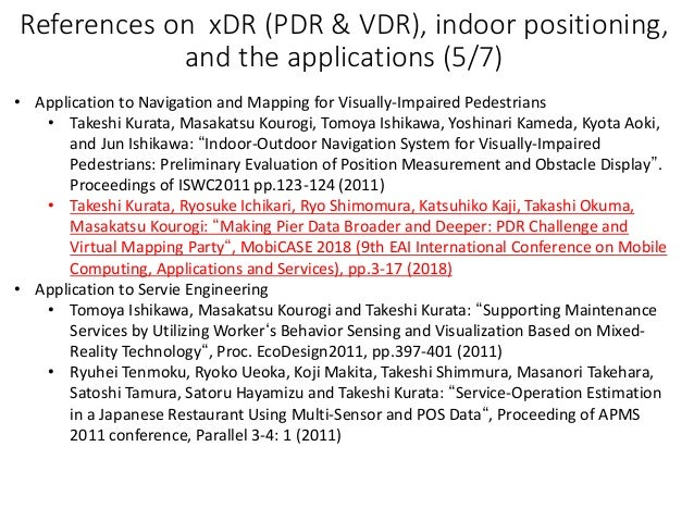 References on xDR (PDR & VDR), indoor positioning, and the applications (5/7) • Application to Navigation and Mapping for ...