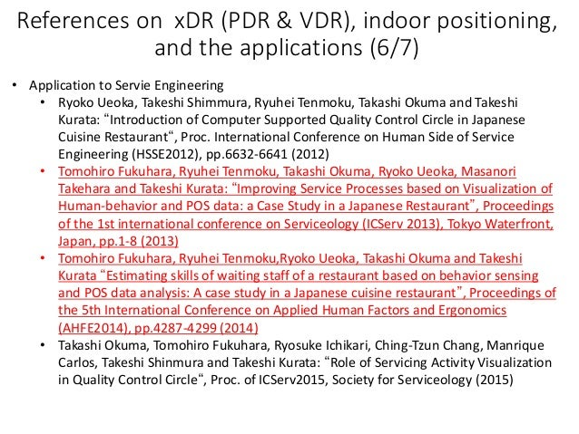 References on xDR (PDR & VDR), indoor positioning, and the applications (6/7) • Application to Servie Engineering • Ryoko ...