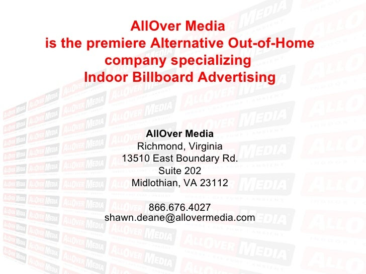 AllOver Media  is the premiere Alternative Out-of-Home company specializing  Indoor Billboard Advertising AllOver Media Ri...