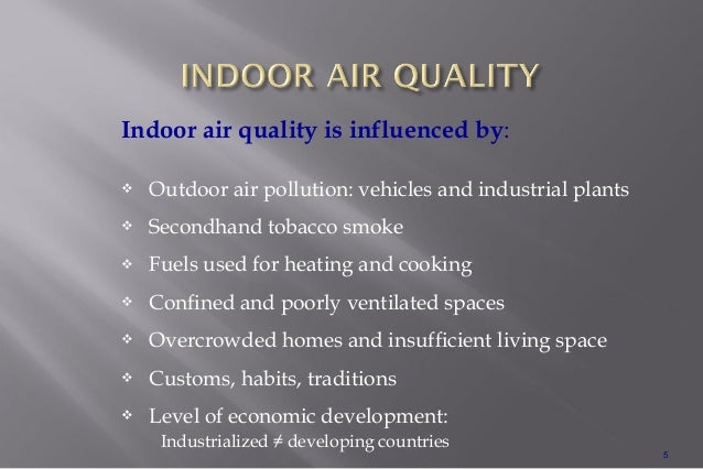 wk 5 indoor air pollution Indoor air quality (iaq) is a term which refers to the air quality within and around  buildings and  2 prompt cognitive deficits 3 effect of indoor plants 4 hvac  design 5 building ecology  the half life for radon is 38 days, indicating that  once the source is removed, the hazard will be greatly reduced within a few  weeks.