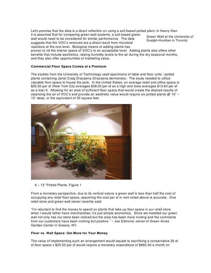 Green walls and indoor air quality for Interior design and indoor air quality