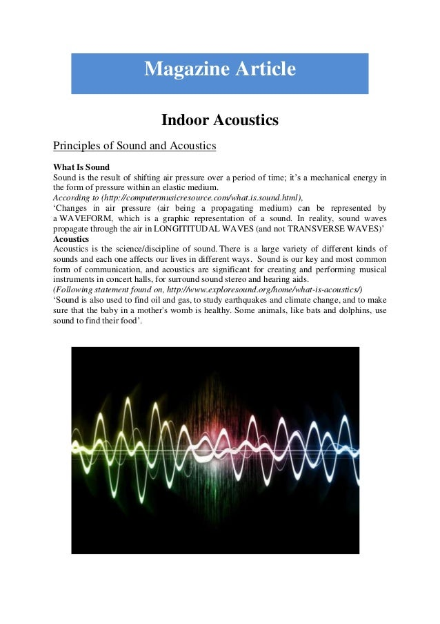 Indoor Acoustics Principles of Sound and Acoustics What Is Sound Sound is the result of shifting air pressure over a perio...