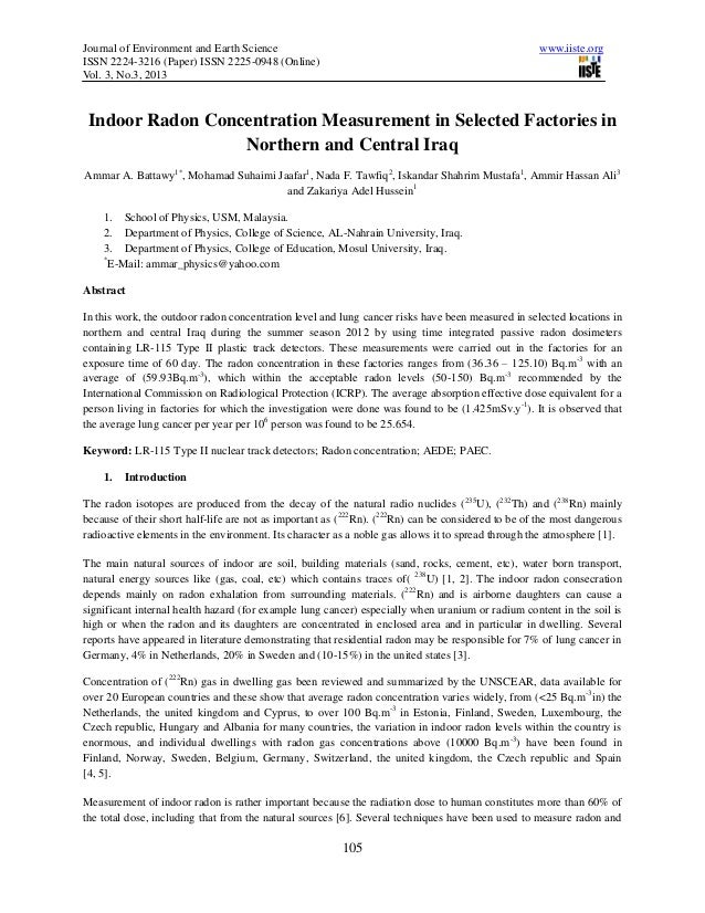 Journal of Environment and Earth Science www.iiste.orgISSN 2224-3216 (Paper) ISSN 2225-0948 (Online)Vol. 3, No.3, 2013105I...