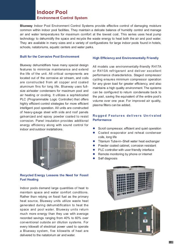 Environmental Control Systems : Indoor swimming pool environmental control system blueway