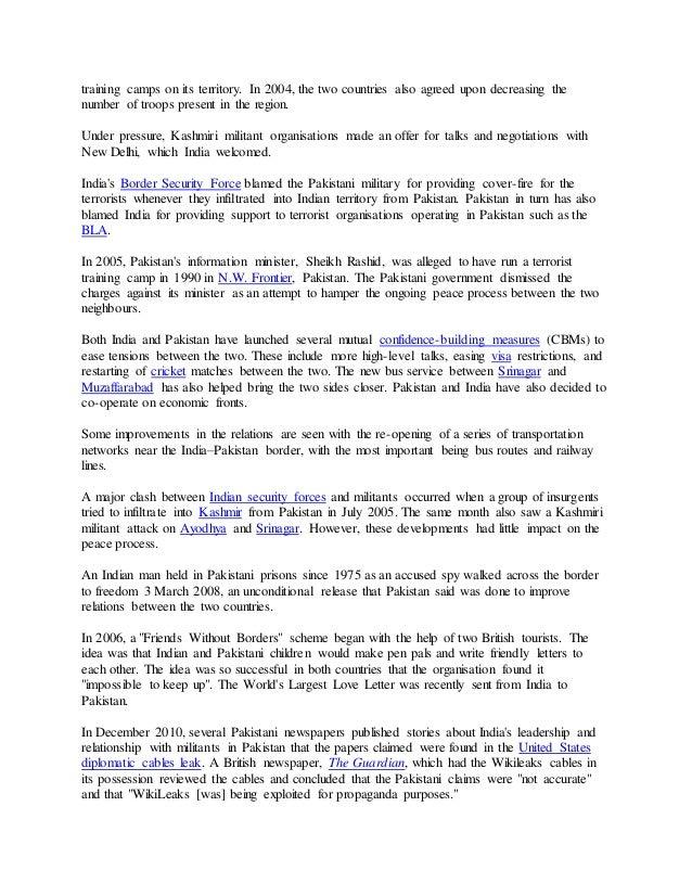 relationship between india and pakistan essay 2017
