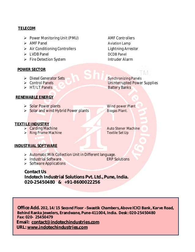 indotech industrial solutions pvt ltd introduction letter With air conditioning company introduction letter
