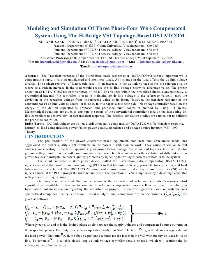 Modeling and Simulation Of Three Phase-Four Wire Compensated   System Using The H-Bridge VSI Topology-Based DSTATCOM      ...