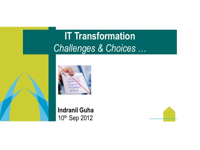IT TransformationChallenges & Choices … Indranil Guha 10th Sep 2012