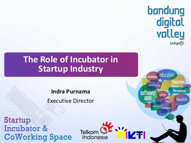 The Role of Incubator in Startup Industry Indra Purnama Executive Director