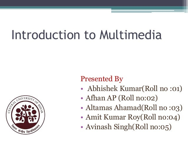 Introduction to Multimedia  Presented By • Abhishek Kumar(Roll no :01) • Afhan AP (Roll no:02) • Altamas Ahamad(Roll no :0...