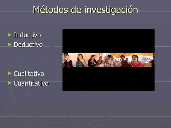 Métodos de investigación <ul><li>Inductivo </li></ul><ul><li>Deductivo </li></ul><ul><li>Cualitativo </li></ul><ul><li>Cua...
