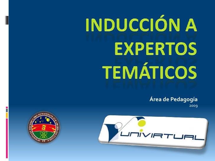 INDUCCIÓN A EXPERTOS TEMÁTICOS<br />Área de Pedagogía<br />2009<br />