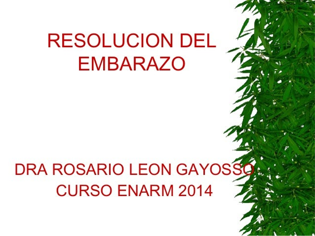 RESOLUCION DEL EMBARAZO DRA ROSARIO LEON GAYOSSO CURSO ENARM 2014