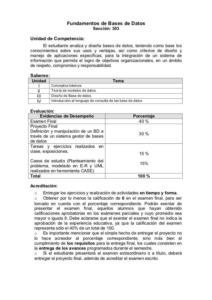 Fundamentos de Bases de Datos                                     Sección: 303Unidad de Competencia:      El estudiante an...