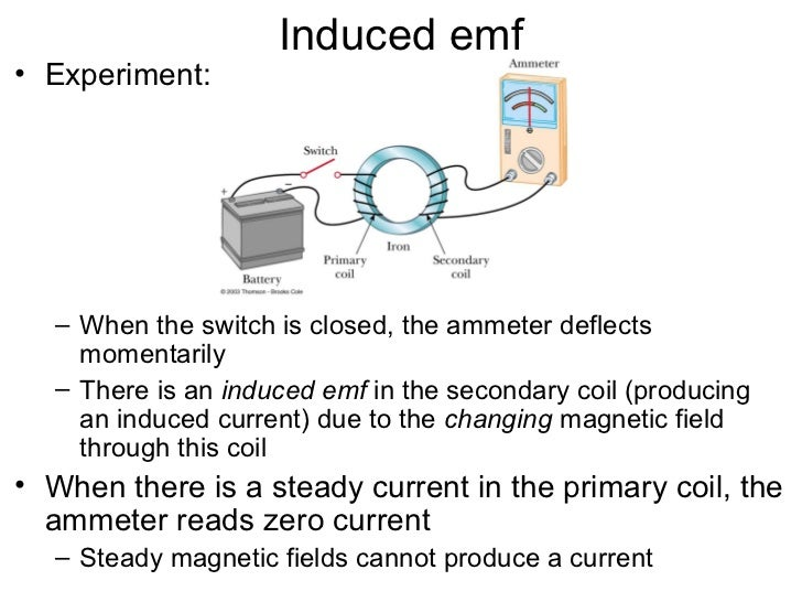Induced emf• Experiment:  – When the switch is closed, the ammeter deflects    momentarily  – There is an induced emf in t...