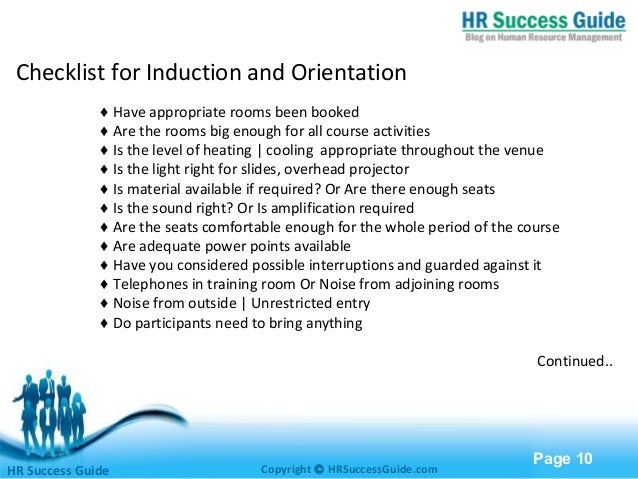 Induction and Orientation – Induction Checklist Template