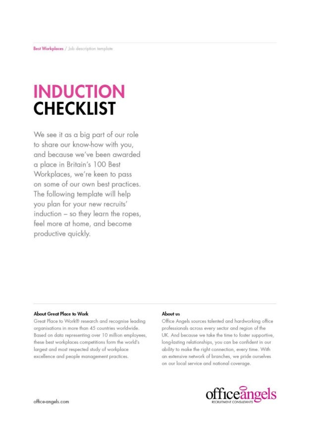Induction Checklist  To Plan Your Next Induction