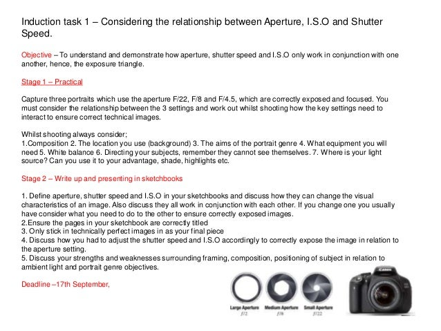 Induction task 1 – Considering the relationship between Aperture, I.S.O and Shutter Speed. Objective – To understand and d...