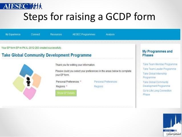 Steps for raising a GCDP form