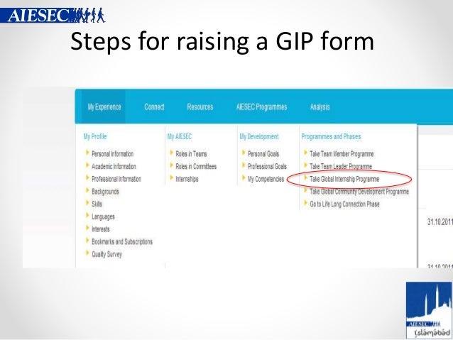 Steps for raising a GIP form