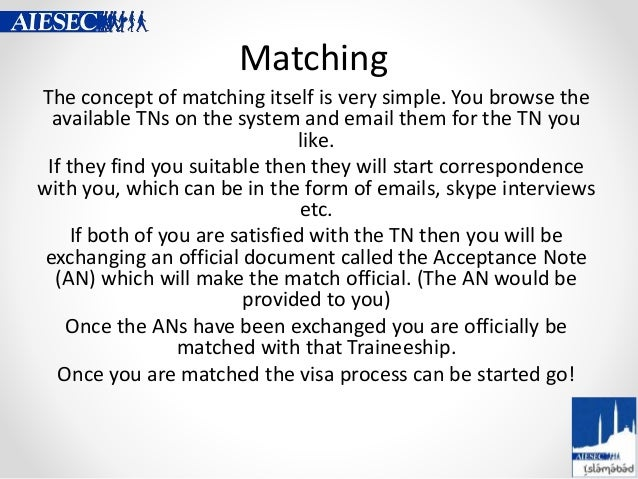 Matching The concept of matching itself is very simple. You browse the available TNs on the system and email them for the ...