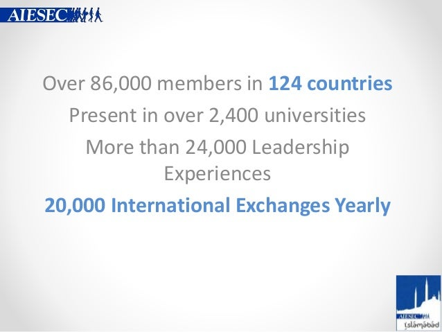 Over 86,000 members in 124 countries Present in over 2,400 universities More than 24,000 Leadership Experiences 20,000 Int...