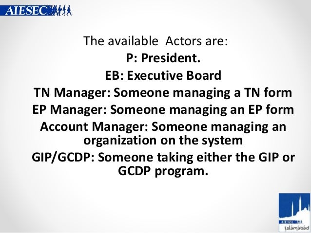 The available Actors are: P: President. EB: Executive Board TN Manager: Someone managing a TN form EP Manager: Someone man...