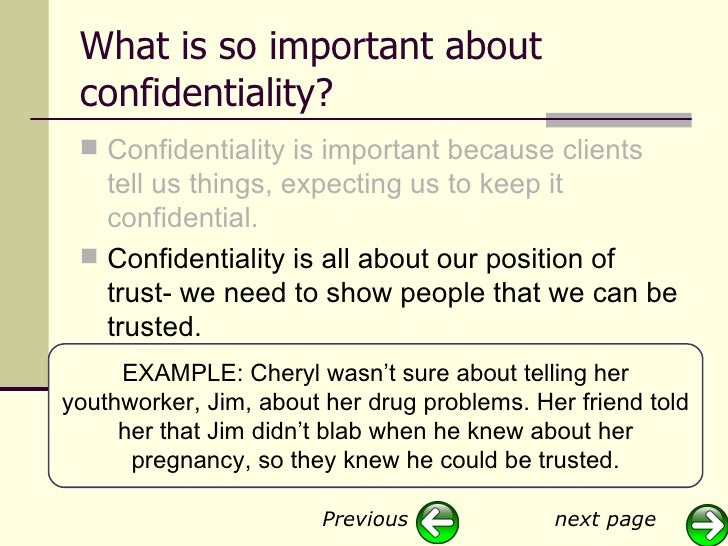 the importance of confidentiality in counselling It's maybe the most important thing in counselling because that'sone of the pillars of building a safe space for the patientthepatient and the.