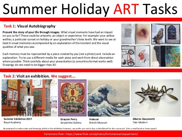 Summer Holiday ART Tasks Present the story of your life through images. What visual moments have had an impact on you so f...