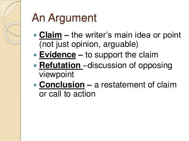 An Argument   Claim – the writer's main idea or point  (not just opinion, arguable)   Evidence – to support the claim  ...