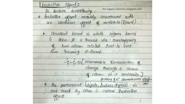 Inductive effect (organic chemistry) notes and lectures