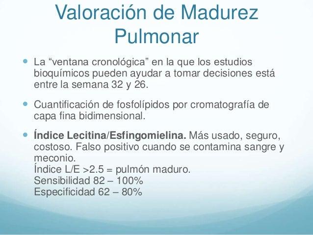"""Valoración de Madurez Pulmonar  La """"ventana cronológica"""" en la que los estudios bioquímicos pueden ayudar a tomar decisio..."""
