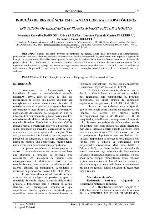 Review Article 231 INDUÇÃO DE RESISTÊNCIA EM PLANTAS CONTRA FITOPATÓGENOS INDUCTION OF RESISTANCE IN PLANTS AGAINST PHYTOP...
